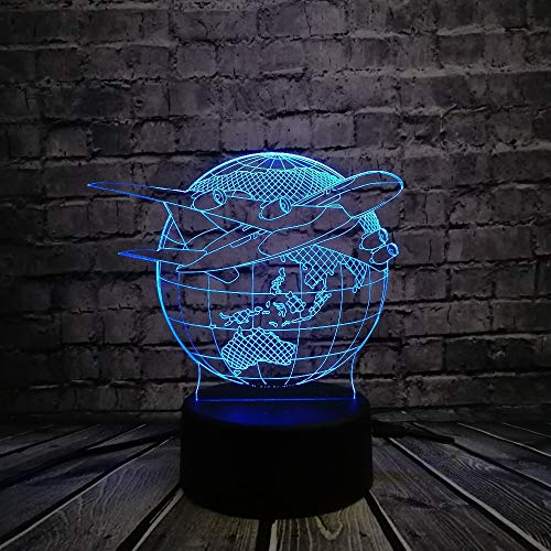 WANGJIA Creativo 3D Usb Lámpara Led Globo Plan De La Tierra Aviones Triumph Skies 7 Colores Cambiando El Estado De Ánimo Bombilla Piloto Regalo Habitación Decoración Rgb