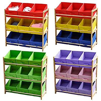 Popamazing Kids' 3 Tier Wooden Pine Bedroom Toy Chest Storage Shelf and 9 Canvas Drawers Boxes Unit - inexpensive UK light shop.