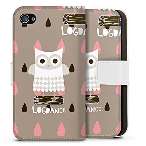 Apple iPhone X Silikon Hülle Case Schutzhülle Eule Holz Stamm Sideflip Tasche weiß