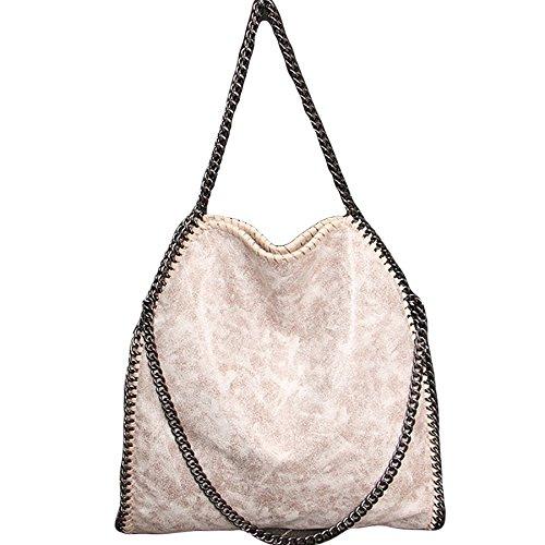 Rolanscia Damen Handtasche Elegant Kette Frauen Handtaschen Umhängetasche Silber Elfenbein