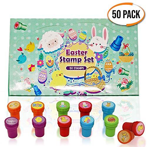50 verschiedene Selbstfärbe stempel - 10 verschiedene Designs - 5 niedliche Farben - Ideal für Ostern aktivitäten Kunst & Handwerk - Stempeln, kinder give aways Spielzeuge, mitgebsel, gastgeschenke.