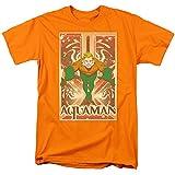 DC Comic Homme Aquaman bondissant T-Shirt Orange (S)