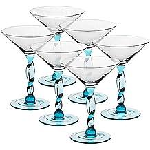 6 x Eiscremeglas, Eisbecher, Eisschale ~SICILIA~ aquamarin, 24,5 cm, Glas (GELATO VERO powered by CRISTALICA)