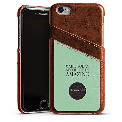 Apple iPhone 5s Housse Étui Protection Coque Fleurs amour C½ur Phrases Étui en cuir marron