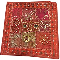 Mogul Interior Pillow Toss Vintage Sequin Embroidered Patchwork Orange Tapestry Indian Art 16x16