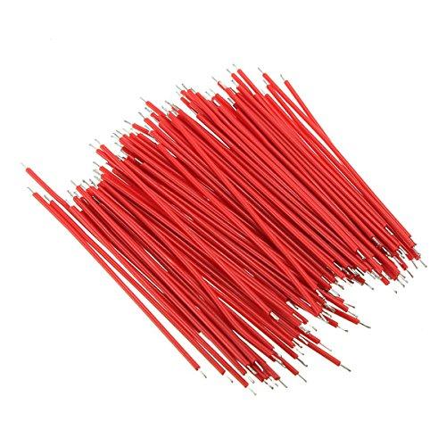 LaDicha 100Pcs Brotschneidebrett-Kabel-Drähte Für Experiment-Test 1.0Mm 6Cm Rot
