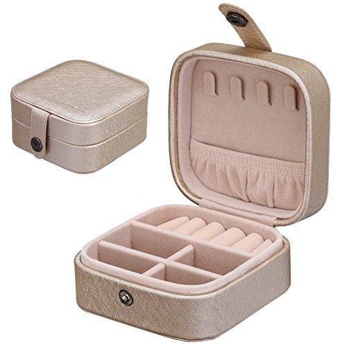 SONGMICS Petite boîte à bijoux Modèle mini Pratique à emporter en voyage Pour boucles d'oreille, clou d'oreille, bracelets, produits cosmétiques Noir JBC147GD