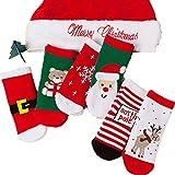 DuanMei 6 Paar Weihnachtssocken Kinder Mädchen Jungen Baby Socken weich und bequem Baumwolle Socken Rentier Weihnachtsmann niedlich lässig 1-10 Jahre alt
