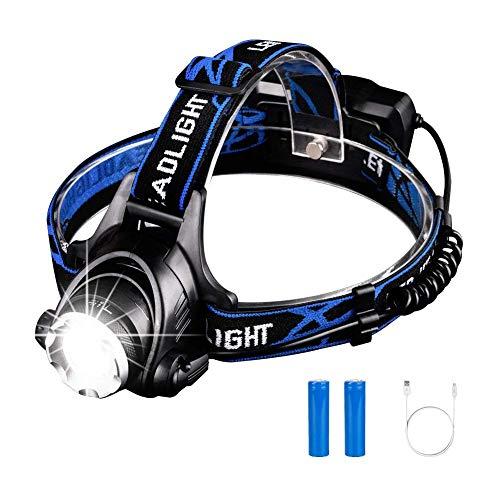 MUTANG Lampe frontale portative à LED, lampe frontale super lumineuse pour casque rechargeable USB 3 modes de tête de lampe frontale T6 montée sur la tête pour le camping en cours