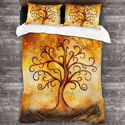 Dingl Juego de Cama de 3 Piezas con símbolo del árbol de la Vida en poliéster Estructurado 100% Natural, 1 Funda de edredón y 2 Fundas de Almohada, Ultra Suave y Transpirable