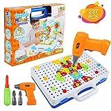 BelleStyle Mosaico di Puzzle 3D, Giocattoli di Costruzione Montessori Costruzione di Puzzle Giochi Mattoncini Educativi Montessori 237PCS Costruzioni Fai da Te Trapano Regalo per Bambini