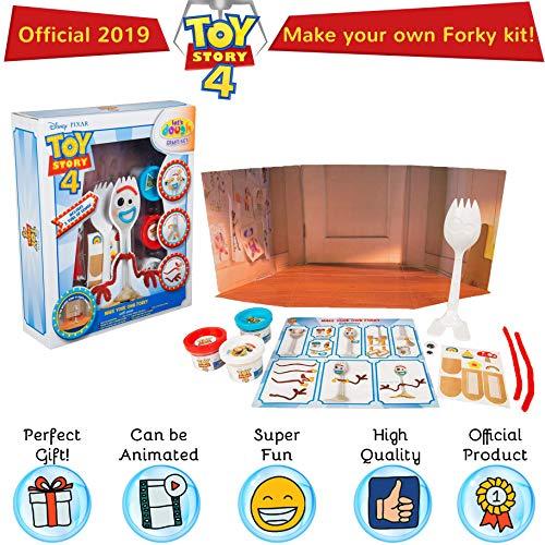 Disney Toy Story 4 Haz Tu Propio Estilo con Escena   Juego De Manualidades con 3 Tipos De Plastilina,  Modelo De Tenedor Y Accesorios   Actividades De Forky para Niños   Juguete Creativo