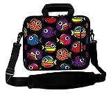 LUXBURG® 17,3 Zoll Schultertasche Notebooktasche Laptoptasche Tasche mit Tragegurt aus Neopren für Laptop / Notebook Computer - Farbige Fische