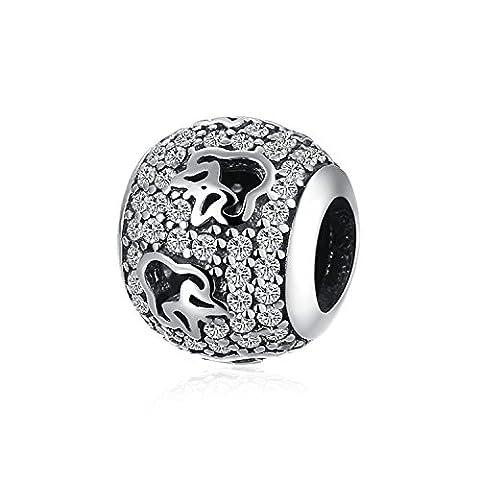 Hmilydyk pour femme Charm JAN-DEC Birthstone Perles de cristal de Swarovski Elements Argent sterling 925compatible avec bracelets Pandora