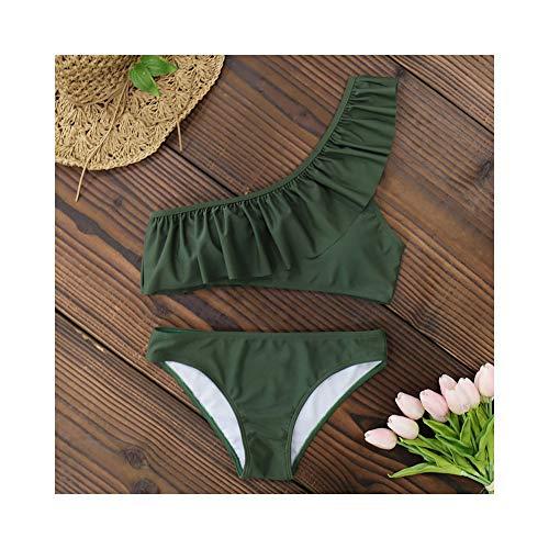 WJFBJNHK One Shoulder Ruffle Bikinis Solide Bikini Set Push Up Bademode Badeanzug Damen Badeanzüge Beach Wear S-XL -