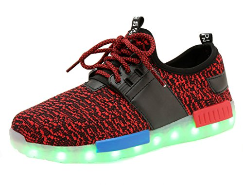 Honeystore Herren Damen LED Sport Schuhe 7 Farbwechsel USB Leuchtend Sportschuhe Sneaker Turnschuhe Rot-02 37 CN -