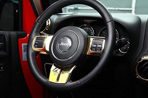 Preisvergleich Produktbild Opar Gold Lenkradabdeckung Trim f¨¹r 2011 - 2017 Jeep JK Wrangler & unbegrenzt & Kompass & Patriot - 3PCS / Set