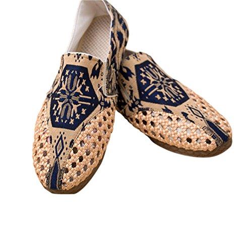 Meijunter Summer Hommes Respirant Coton Slip-on Shoes Printed Hollow Chaussures Flats Des sandales Multicolore