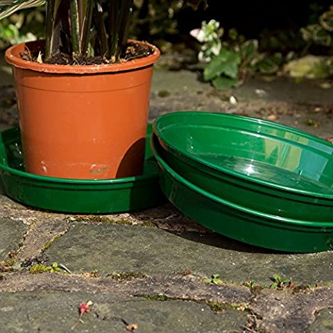 Round Heavy Duty Green Plastic Garden Flower Planter Plant Pot Saucer Base Water Tray