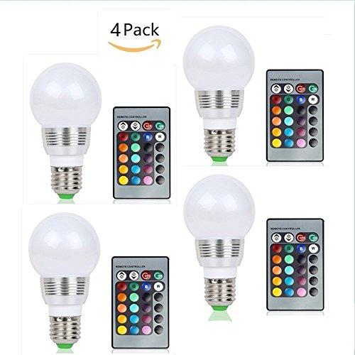 (Pack of 4)Lennystone® Neueste 5W RGB LED Lampen E27 Led Light Blubs Geführte Glühlampen Bunte Ändern Hohe Helligkeit Scheinwerfer mit einem Fern Dekorative Beleuchtung,AC85-265V (5W E27 4Pcs)