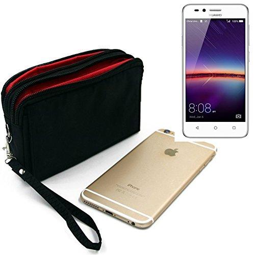 K-S-Trade Für Huawei Y3 II Dual-SIM Gürteltasche schwarz Travel Bag, Travel-Case mit Diebstahlschutz praktische Schutz-Hülle Schutz Tasche Outdoor-case für Huawei Y3 II Dual-SIM