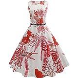 TEBAISE Sommer Frauen Konzert Formellen Anzug Vintage Druck Bodycon Sleeveless beiläufige Abendgesellschaft Prom Swing Kleid Geschichteten Rock(Weiß5,EU-34/CN-S)
