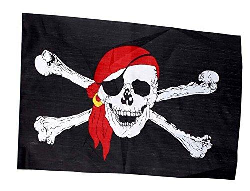 Edealing 1PCS Skeleton Schädel-Knochen-Piraten-Flagge Jolly Roger Hängen mit Tülle für (Piraten Dekoration Partei)