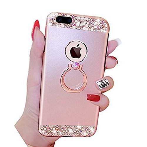 EUWLY Cover iPhone 7 Plus/iPhone 8 Plus (5.5), iPhone 7 Plus/iPhone 8 Plus (5.5) Case per Ragazza delle Donne, EUWLY Custodia Luxury Bling Crystal Sparkle Glitter Diamante Cover [360 Rotating Anello Oro Rosa