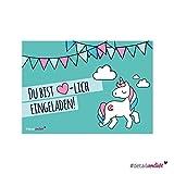 15 Einhorn-Einladungskarten zum Ausfüllen I dv_015_türkis I DIN A6 I Einladung für Mädchen I Kinder-Geburtstag Einschulung Motto-Party