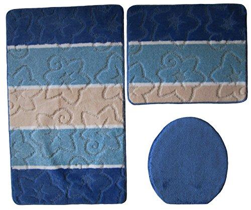 3- teilig Badgarnitur dunkelblau gestreift 80 x 50cm Badset Badematten Badteppich Hänge-WC