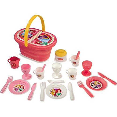 Unbekannt Disney Princess Puppenservice für Prinzessinnen im Picknick-Korb Kinder ab 3 Jahren • Picknickkorb Puppen Geschirr Service Spielzeug Spiel Küche Kind