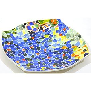 Art Escudellers Geschirr aus Porzellan, verziert in TRENCADIS im Stil von Gaudí (Farbe Aurora) Drehscheibe
