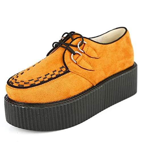 RoseG Damen Schnürschuhe Flache Plateauschuhe Gote Punk Creepers Schuhe - 5