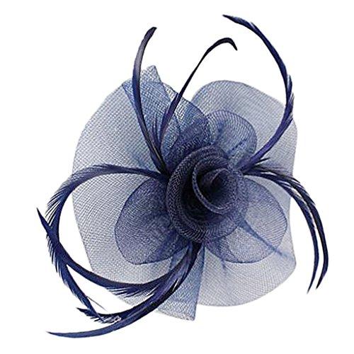 Feder Fascinator Haar Clip Weddings Rennen Damen Fascinator - Navy blau (Blume Und Feder-haar-clips)