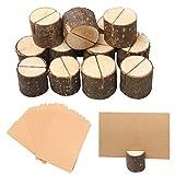 Nuosen 20 Stücke Holzsteg Platzkartenhalter und 20 Blätter Kraftpapier, Tischkartenhalter Fotohalter für Hochzeit Platzkarten oder Restaurant