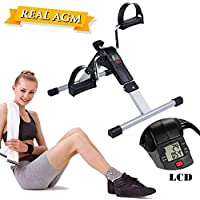 Mini Bicicleta Estática, AGM Minibicicleta Pedaleador Plegable con LCD Pantalla, Máquinas de piernas,