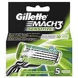 Gillette Mach3 Sensitive Lame per Rasoio da Uomo - Set da 5 Pezzi