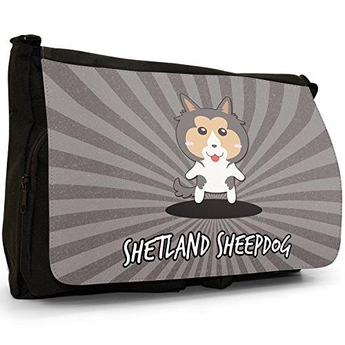 Scozzese Cartoon cani grande borsa a tracolla Messenger Tela Nera, scuola/Borsa Per Laptop Shetland Sheepdog, Sheltie