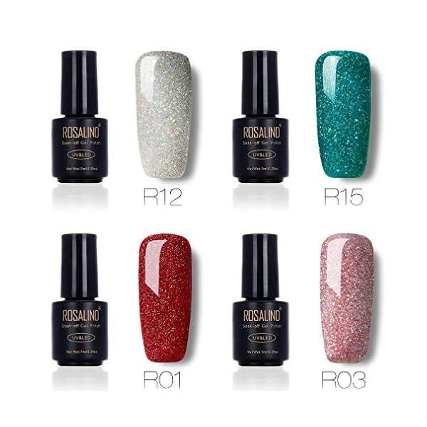 ROSALIND Esmaltes Semipermanentes de Uñas en Gel UV LED de Color Neon, 4pcs Kit de Esmaltes de Brillo Uñas 7ml ( Rainbow…