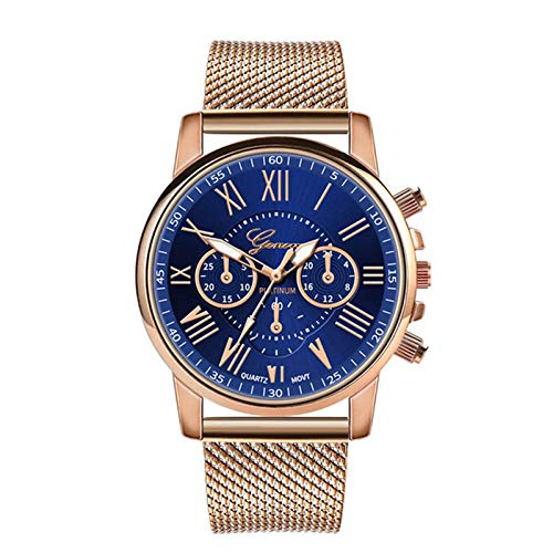 lzndeal Women Quartz Watch Roman Numerals Dial with Golden Silicone Band,Orologio Digitale, Orologio Digitale Tridimensionale Geneva a Tre Occhi