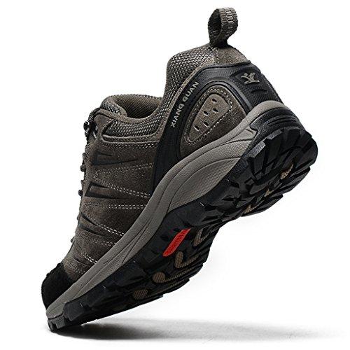 XIANG GUAN Homme Chaussures de Randonnée en Cuir Chaussures de Sports Outdoors Trekking B92628 Marron