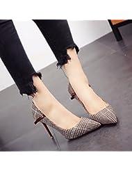 YL LY Delgado con Boca Baja Arco Apuntado Tacones Altos Cosiendo Zapatos de Celosía Temperamento Zapatos