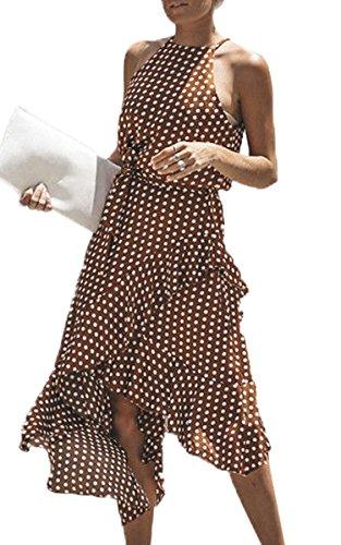 ECOWISH Damen Kleider Mode Elegant Partykleid Boho Neckholder Wellenpunkt Sommerkleid A-Linie...