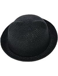 EOZY Chapeau de Paille Visière Mou Chat Oreille Anti Soleil Enfant Tête 53cm Noir