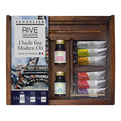 Sennelier Rive Gauche Oil Wooden Box Set by, Includes 12-10ml Tubes And Accessories (10-130330-00)