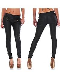 Fashion4Young Damen Treggings Röhrenhose leggings Hose pants Stretch-Stoff-Mix Leder in 5 Größen Schwarz