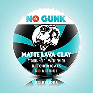 NO GUNK Matte Lava Clay - 100% Natural Matte Clay Paste For Men's Hair Styling - Strong Hold - Natural & Organic Ingredients (Unscented, 50g)