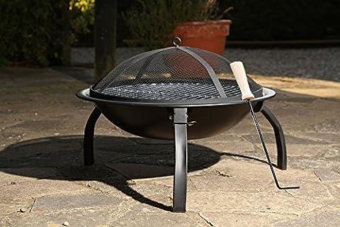 Grand Barbecue grill de type bol avec pieds pliables Anthracite Tisonnier Sécurité en maille Noir