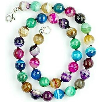 Achat Halskette Achat Kugeln bunt und facettiert Größe ca. 10 mm mit Perlseide geknotet Verschluss 925er Sterling-Silber Artikel-Nr. 5112H