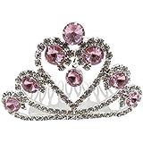 Frcolor Baby Girls Rhinestone Crown Hair Comb Kids Tiara Crown Crystal Hair Combs(Pink)
